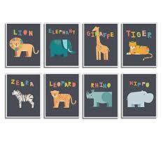 safari animal mini prints nursery wall decor set of eight 5 7 prints educational posters ocean life decor nursery decor flash cards wall decal baby