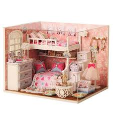 kids dollhouse furniture. 2016 New Wooden Dollhouse Furniture Kids Toys Handmade Gift Diy Doll House Kits With Led Stuff Home Decor Craft Houses Miniature H006 A