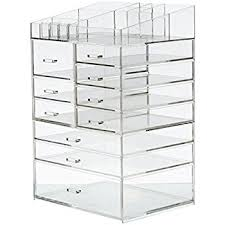 makeup storage furniture. cq acrylic extra large 8 tier clear cosmetic makeup storage cube organizer with 10 drawers furniture g