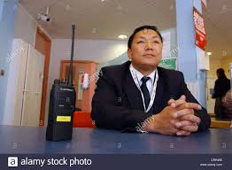 Hospital Security Guard Hospital Security Guard Waiting At Desk Stock Photo 49044049 Alamy