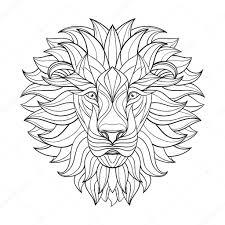 Podrobné Lev V Aztécké Stylu Vzorované Hlava Na Izolované Pozadí