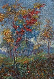 bold colors from anna hills in autumn trees 14x10 oil on board