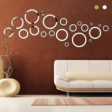 gold silver round circles wall mirror acrylic mirror decorative wall stickers 3d home wall art decal