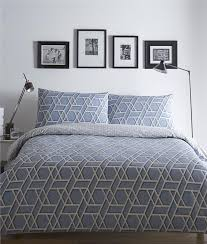 superking duvet set blue quilt cover bed set geometric print reversible bedding