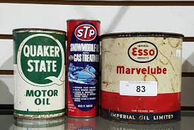 Three Pc Vintage Esso Marvelube Grease Tin Quaker State Oil