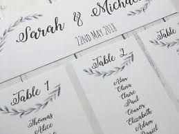 Details About Wedding Table Plan Cards Wedding Seating Chart Cards Green And Blue Leaves