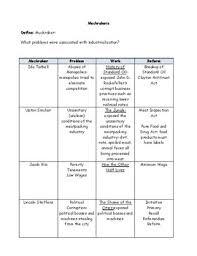 Progressive Era Muckrakers Chart Answer Key Www