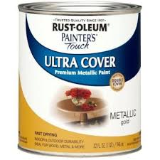 Rust-Oleum Painter's Touch 32 oz. Ultra Cover Metallic Gold General Purpose  Paint-254079 - The Home Depot | Rustoleum, Oil rubbed bronze paint,  Painting bathroom