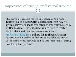 Professional Resume For Getting Best Job Offer