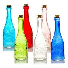 6pc stella vintage glass bottles decorative colorful wedding flower vases