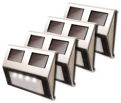 toya solar deck lights set of 4 stainless contemporary deck lighting