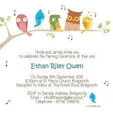 Naming Ceremony Invitations Singing Birds