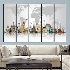 5panel large size hd prints 3d world famous buildings on canvas modular wall paintings wall art