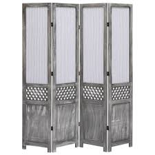 4Panel Room Divider Grey 140x165 cm Fabric Sale, Price & Reviews