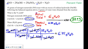 percent yield practice problems