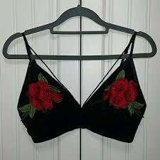 Forever 21 Velvet And Red Rose Bra Size Small