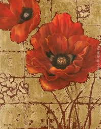 poppies on gold ii painting vivian flasch poppies on gold ii art painting