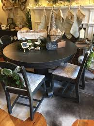 round pedestal kitchen table. Black Painted VTG Round Pedestal Dining Table Kitchen I