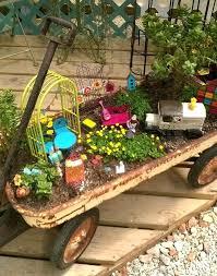 fairy garden in a wagon fairy garden in a rusty wagon by of in fairy garden fairy garden