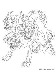 Kleurplaat Cerberus The 3 Headed Dog