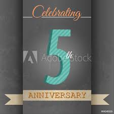anniversary poster template photo art print 5th anniversary poster template design in retro