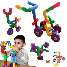 Skoolzy STEM Toys Building Blocks - 30 pc Pipes \u0026 Joints Construction Sets for Kids Fine Motor Skills Educational Toddlers 3, 4 and 5 Year