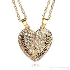 new mother jewelry whole mothers day set white crystal rhinestone heart and daughter lettering pendant necklace
