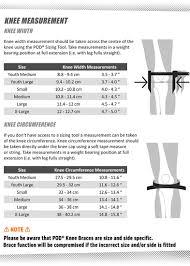 Pod Size Chart Pod K1 Kids Knee Brace Pair