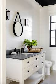 white bathroom cabinets gray walls. we love this charming black \u0026 white powder room designed by tamara magel, with photos rikki snyder for elle decor. the shiplap? bathroom cabinets gray walls e