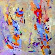 contemporary abstract painting cross traffic does not stop 11027 by texas daily painter nancy standlee