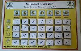 Details About My Homework Reward Chart For Sen Adhd Asd Autism Visual Learners Primary School