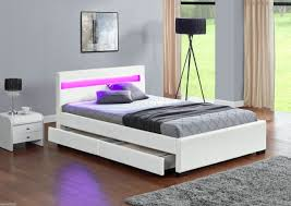 Harmin LED Music Bed with Bluetooth 4 Under Storage drawers White