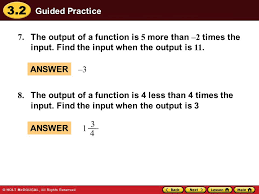 3 2 guided practice 7 the output of a function is 5 more than 2