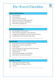 Pre Travel Checklist Templates At Allbusinesstemplates Com