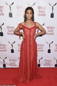 mj in red mj rodriguez rocks a sheer red dress on the