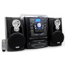 jensen shelf stereo system with turntable 3 cd player dual cassette recorder
