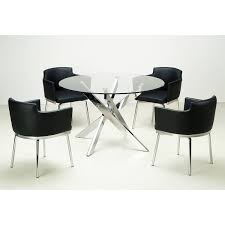 somette round gl top chrome 5 piece dining set