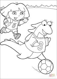 Small Picture Dora and Isa playing soccer coloring page Free Printable