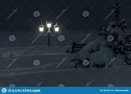 Snowfall Blizzard Lights Winter Night City Saratov Quay Bund Under Snowfall Street