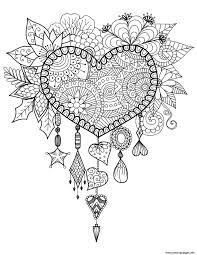 dreams catcher heart mandala zen coloring pages printable