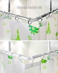 corner shower curtain rail rod 120 x 120cm l shape 2 x ceiling mounts and semi open rings chrome co uk kitchen home