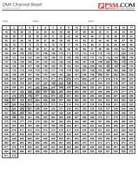 Dmx Lighting Chart Dmx Channel Sheet