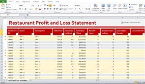 Profit And Loss Statement For Restaurant Template Restaurant Profit And Loss Statement Template Excel Profit