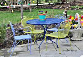 white iron patio furniture. Spray Painted Brightly Colored Wicker And Wrought Iron Patio Furniture Makeover White S
