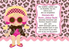 girl with leopard print background pool party invitations printable or printed