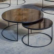 bronze round nesting coffee table set glass top