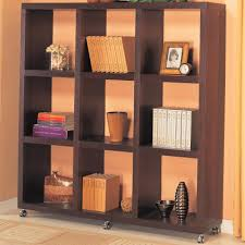 coaster cappuccino contemporary cube bookshelf with casters