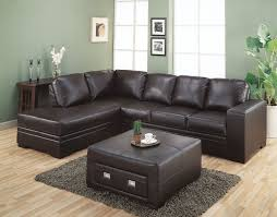 Very Popular Sectional Dark Brown Leather Couch With Square Upholstered  Brown Leather Coffee Table Storage On
