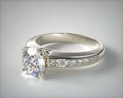 0 60ct channel set princess shaped engagement ring 14k white