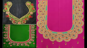 Saree Blouse Hand Work Designs Aari Work And Maggam Work Blouse Back Neck Designs For Silk Saree Hand Embroidery Work Blouse Design